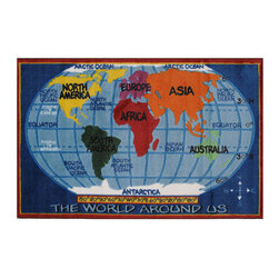 """Fun Rugs - Kids World Map Supreme Collection Rug - 31"""" x 47"""" - This colorful rug has kids world map design Collection Name: Supreme; 100% Nylon Dimensions: 31"""" x 47"""""""