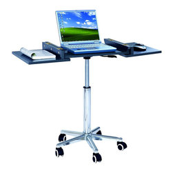RTA Products - Techni Mobili Folding Table Laptop Cart - Graphite - The Techni Mobili Folding Table Laptop Cart panels are made of MDF with PVC laminate surface. It features a chromed steel frame that adjusts from 26 up to 36 inches in height. The unfolded panels add an additional 14 inches of workspace. Fits laptops of up to 16.5 inches wide.