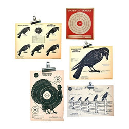 """Used Vintage Shooting Targets - Set of 7 - Perfect for your Halloween and Thanksgiving decorations! A set of vintage paper shooting targets with great graphics. The first features a single crow, a coordinating target features a flock perched on a fence, another target features a turkey, perfect for your turkey shoot, and another features multiple small crows. Also included are three red Daisy targets, perfect if you want to """"shoot your eye out"""" at Christmas.  Picture these as part of your Halloween and Thanksgiving decor, or as graphics within your gallery wall.    There are small tears and wrinkles along the edges and corners, but this is old paper and it only serves to add to their vintage charm. You will not receive these exact photographed target (as the Seller has a few in stock) but you will receive the same graphics that are pictured. The turkey target you will receive is in excellent condition, unlike the one pictured.    Single crow measures 8.5"""" x 11"""" inches.  Multiple small crows measures 8.5"""" x 11"""" inches.  Crows on fence measure 6"""" x 9"""" inches.  Turkey measures 6"""" x 9"""" inches.  3 red daisy targets measures 4.5"""" x 5"""" inches."""