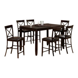 "CBNewTexasPub7pc - 7-Piece New Texas Collection Espresso Finish Wood Counter Height Table Set - 7-Piece New Texas collection espresso finish wood counter height table set with cross back chairs. This set includes the table with legs and 6 side chairs with microfiber seats. Table measures 36"" x 60"" X 36"" H. Chairs measure 42"" H to the back. Some assembly required."