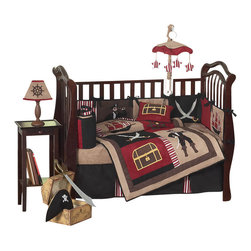 Sweet Jojo Designs - Pirate Treasure Cove 9-Piece Baby Bedding Set - The Pirate Treasure Cove 9 Piece baby bedding set by Sweet jojo designs, features a collection of appliques from the sea including pirates, ships, treasure chests, swords, and helms. This set uses a color combination of black, brick red, camel, and chocolate. It uses striped and solid cotton fabrics combined with rich micro suede.