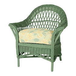 Comfy Wicker Chair - My house actually has four of my Grandmother's classic wicker chairs around, and this one reminds me of the one that was he favorite. It comes in 40 colors and has that wonderful, super thick cushion.