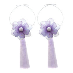 "Bugs-n-Blooms - Flower Tie Backs Purple Multi-Layered Flowers Tieback Pair Set Decorations - Window Curtains Holder Holders Tie Backs to Decorate for a Baby Nursery Bedroom, Girls Room Wall Decor - 5"" Diameter Pink & White Multi Layered Curtain Tieback Set Daisy Flower 2pc Pair - Beautiful window curtains tie backs for kids room decor, baby decoration, childrens decorations. Ideal for Baby Nursery Kids Bedroom Girls Room.  This gorgeous daisy flower tieback set has mutli layered petals, sequins, and glitter. This pretty daisy flower decoration is made with a soft bendable wire frame & have color match trails of organza ribbons. Has 2 adjustable wires to wrap around the curtains; or simply remove & add your own ribbon for a personal & custom look.  Visit our store for more great items. Additional styles are available in various colors, please see store for details. Please visit our store on 'How To Hang' for tips and suggestions. Please note: Sizes are approximate and are handmade and variances may occur. Price is for one pair (2 piece)"