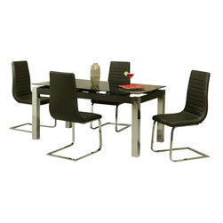 """Pastel Furniture - Pastel Monaco 5-Piece Rectangular Black Dining Room Set with Skyline Chairs - Skyline dining set with 35"""" x 63"""" rectangular black glass top which can be extended to 79"""". This set includes a table with four side chairs in chrome metal finish and upholstered in PU black fabric."""
