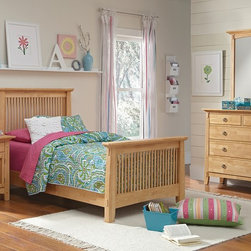 Wentworth II Light Wood Kids Bedroom Collection - Play Time. Let your child's bedroom décor inspire their creative pursuits yet stand up to wear and tear with the Wentworth II Light collection. The slatted louver effect and simple, sturdy vertical lines speak to the motifs of the Arts and Crafts design movement, while the mortise and tenon accents bring to mind the related mission-furniture style. These elements work with the natural-finished mersawa veneers for an airy, contemporary look. The smaller scale of this collection will fit in well in a kids bedroom and the burnished metal, ring-shaped drawer pulls add a rustic finishing touch to this versatile group. Six piece package includes complete Twin bed, media dresser, mirror and nightstand, as shown. (Mattress set and pillows are not included.)