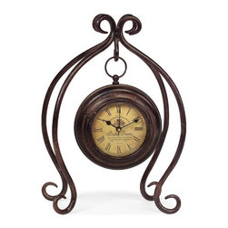 """IMAX - Iron Hanging Clock with Stand - Uniquely designed iron hanging clock with stand with yellow face and roman numerals Item Dimensions: (11.25""""h x 7.5""""w x 4.5"""")"""