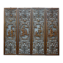 Golden Lotus - Chinese Wooden Open Carving 4 Pieces Wall Panel Set - This is a  set of 4 pieces nicely carved wall decoration panel. The theme is the traditional Chinese people gathering at the center and continued series of Ru-Yi , flowers and vases pattern around the edge. It is a good craftsmanship set for collection as well as decoration.