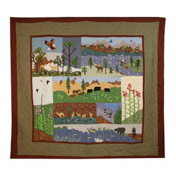 Patch Quilts - Natures Splendor, Quilt Luxury King - Intricately appliqued and beautifully hand quilted. Machine washable, line or flat dry only. Patch Quilts - QLKNSSP