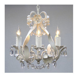 Gallery - Gallery 326-4 4 Light 1 Tier Wrought Iron Floral Chandelier with Crystals - Features: