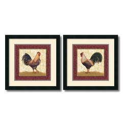 Amanti Art - Feathers - set by Daphne Brissonnet - A proud stance and vivid colors, these roosters are a perfect addition to any room.