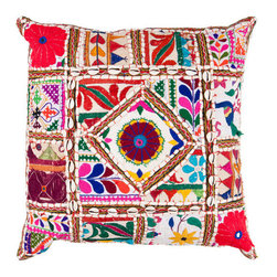 Surya Rugs - 18-Inch Square Multi-Color Bohemian Cotton Pillow Cover with Down Insert - - 18 x 18 100% Cotton Pillow Cover w/ Down Insert.   - For more than 35 years Surya has been synonymous with high quality innovation and luxury.   - Our designers have masterfully created some of the most cutting edge and versatile pieces to bring out the best in every room.   - Encompassing their expert understanding of the latest trends in fashion and interior design each product is a perfect combination of color pattern and texture to accommodate the widest range of tastes.   - With Surya the best in design and quality is at your fingertips.   - Pantone: Spring Green Deep Sea Green Blue Corn Raisin Magenta Venetian Red Paprika Burnt Orange Orange Peel Sienna Charcoal Gray Putty Papyrus.   - Made in India.   - Care Instructions: Spot Clean.   - Cover Material: 100% Cotton.   - Fill Material: Down. Surya Rugs - AR068-1818D