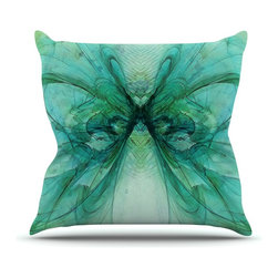 "Kess InHouse - Alison Coxon ""Butterfly Blue"" Green Black Throw Pillow (18"" x 18"") - Rest among the art you love. Transform your hang out room into a hip gallery, that's also comfortable. With this pillow you can create an environment that reflects your unique style. It's amazing what a throw pillow can do to complete a room. (Kess InHouse is not responsible for pillow fighting that may occur as the result of creative stimulation)."