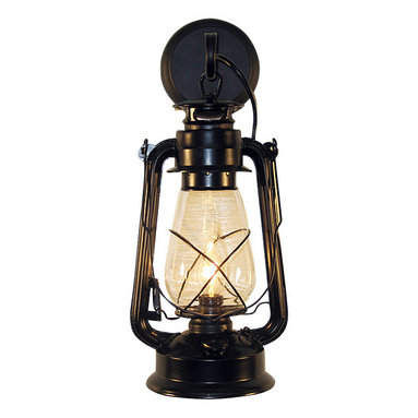 Muskoka Lifestyle Products - Rustic Lantern Wall Mounted Light - Large Black - This Lantern Wall Sconce has our rustic finish with the look of an original oil lantern to provide that authentic touch to your space. This item is UL listed as an indoor, wall mounted fixture only.