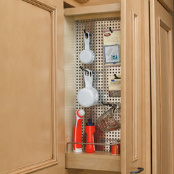 """Wall 5"""" Pull-Out Filler Organizer w/ Stainless Steel Panel & Hooks - Designed for wall 9"""" cabinets, this pull-out features maple wood construction with chrome accents, magnetic grade stainless steel panel and an array of included accessory hooks that allow you to customize your storage needs. Useful in kitchens, laundry rooms or craft rooms. Dimensions: 5""""W x 10-3/4""""D x 27-1/8""""H"""