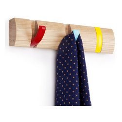 Umbra - Umbra Flip Wood Wall-Mount 3-Hook, Multicolored - Our Umbra Flip Wall Hook is designed to hold anything from necklaces to coats. This multicolored metal wall rack boasts a clever wooden rack with 3-multi color hooks that slip neatly into the rack.