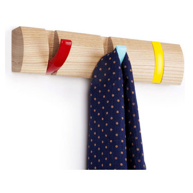 Umbra - Umbra Flip Wood Wall-Mount 3 Hook, Multi-colored - Our Umbra Flip Wall Hook is designed to hold anything from necklaces to coats. This multicolored metal wall rack boasts a clever wooden rack with 3-multi color hooks that slip neatly into the rack.