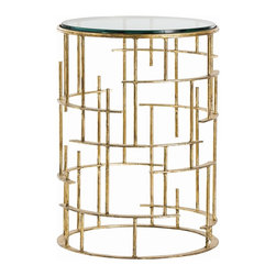 Arteriors - Electa Side Table - Gold leaf gives the Midas touch to the clean curves and spokes of this iron table. With its glass top and open design, it will serve as a functional conversation piece wherever you choose to place it.