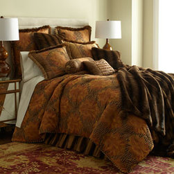 """Austin Horn Classics - Austin Horn Classics Queen Comforter, 92"""" x 96"""" - Brown faux-fur accessories, bronze silk, and fancy trimmings enrich bed linens featuring elaborate medallions set against animal stripes. Made in the USA of polyester/viscose, silk, and French cotton/rayon faux-fur. By Austin Horn Classics. Dry clean. ...."""