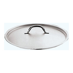 "Paderno World Cuisine - ""Grand Gourmet"" Stainless-steel 17-3/4-Inch Lid - This 17-3/4-inch stainless-steel frying pan lid's soft dome shape is designed to condense vapors and flavors. The Grand Gourmet series boasts an outer and inner satin polish and a mirror-finish along the edges. It has a welded handle. Made in Italy by Paderno. NSF approved. Limited Lifetime Warranty.; Lid only; NSF Approved; Hollow, stay-cool handle; Compatible with all heat sources; Handle with forged stainless-steel rivets; Weight: 2.8 lbs; Made in Italy; Dimensions: 3.5""H x 17.75""L x 17.75""W"