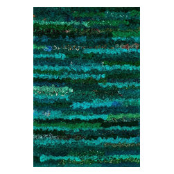 "Loloi Rugs - Loloi Rugs ELIZEI-01EM002339 Eliza Shag Emerald Contemporary Hand Woven Rug - Get ready for a small rug that makes a big impact. Available in 2'3"" x 3'9"" and 3' x 5' scatter sizes, Eliza Shag is perfect for refreshing your kitchen, bathroom, or bedside with a pop of color. In fact, Eliza Shag doesn't just come in color, it's practically made of it. That's because most of the repurposed polyester fabric is hand dipped into rich dye lots and then hand woven together in India. The result is gorgeous colors - serene ocean blue, warm paprika, and elegant ivory - and a fun ruffled texture that's going to uplift the entire mood of your room."