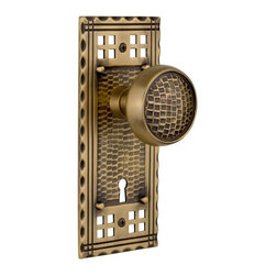 Nostalgic Warehouse - Nostalgic Craftsman Plate with Craftsman Knob and Keyhole in Antique Brass - Inspired by the American Arts & Crafts movement of the early 1900s, the rugged design and hand-hammered details of the Craftsman Long Plate in antique brass emphasizes handwork over mass production. Combine this with our Craftsman knob for a distinctly hand-crafted look. All Craftsman knobs are forged brass for durability and beauty.