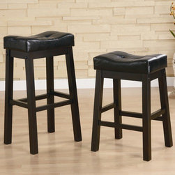 """Wildon Home � - Beaver Cove 29"""" Barstool in Warm Brown Cherry (Set of 2) - This 29"""" bar stool features an ultra plush seat upholstered in luxurious black that resembles the high end look of leather. Tufted button accents add texture to the seat, while sturdy post legs anchor the base of this stunning stool. A warm brown cherry finish wraps the base for a polished look that pairs beautifully with the coordinating table and most styles of dining decor. Also available in a 24"""" height. Features: -Beaver Cove collection. -Warm brown cherry finish. -Casual style. -Armless design for contemporary appeal. -Solid post legs. -Ultra plush upholstered seat with tufted detail. -Assembly required. -Dimensions: 30"""" Height x 11"""" Width x 16"""" Depth."""