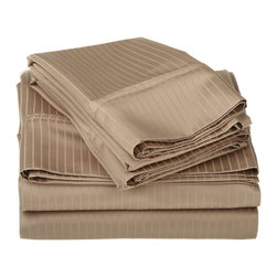 1000 Thread Count Egyptian Cotton Cal. King Taupe Stripe Sheet Set - 1000 Thread Count Egyptian Cotton oversized California King Taupe Stripe Sheet Set