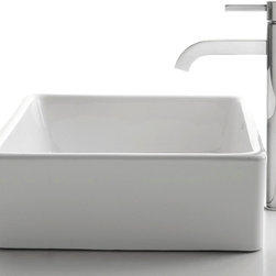 Kraus - Kraus C-KCV-120-1007SN White Square Ceramic Sink and Ramus Faucet - Add a touch of elegance to your bathroom with a ceramic sink combo from Kraus