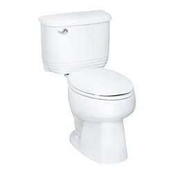 Sterling - Sterling Riverton ProForce Elongated Toilet - 402084-U-47 - Shop for Toilet from Hayneedle.com! The ridge tank and rounded edges of the Sterling Riverton ProForce Elongated Toilet are great but it's the extended rim length that you'll really appreciate. This beautifully crafted water-saving toilet is made from Grade A vitreous china with a protective gloss finish that comes in your choice of white almond or biscuit. The 12-inch rough-in elongated design also provides the user with comfortable use especially if you're a long-legged adult! Most importantly this model utilizes ProForce technology that expels all waste in a single flush that only spends 1.28 gallons for an environmentally friendly and cost-efficient addition to any home. Measures 29.25L x 18.125W x 29H inches and installs with the three-bolt quick-connect system. About SterlingEstablished in 1907 and quickly recognized as a leading manufacturer of faucets and brassware Sterling has been known for their diversity of products and industry-leading designs for over a century. In 1984 Sterling was acquired by Kohler Co. to create a mid-priced full-line plumbing brand and allow Kohler the opportunity to sell their products in retail stores. Over the years Kohler quickly began acquiring other companies to help enhance the Sterling line of products that was quickly growing into the likes of stainless steel sinks compressed fiberglass bathtubs and enclosures and vitreous china products. With that said Kohler was able to take a modestly sized faucet company and turn it into a successful full-line brand. Today Sterling is a brand of Kohler co. and their diversity in products craftsmanship and innovation over a broad range of price points makes them a recognized leader in kitchen and bath design.