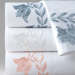 """Horchow - Queen Embroidered Sheet Set - Condotti bed linens feature a Dransfield & Ross® signature detail: satin ribbon woven through natural linen. Satin coverlets and shams with geometric shirring balance the look beautifully. Duvet colors, European shams, dust skirts, and 20""""Sq. pill..."""