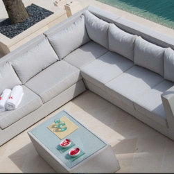 North Sectional from Skyline Design - The North Outdoor Furniture Collection features a unique and elegant design, indicative of the innovation and quality that has made Skyline Design the leader in luxury outdoor furniture.  Integrating the finest synthetic weaving materials with strong aluminum frames, Skyline Design creates furniture that is as beautiful as it is durable.  The North Outdoor Furniture Collection is completely upholstered with batyline® mesh, a revolutionary mass-colored PVC fiber that is UV-resistant, water repellant and resistant to water from swimming pools and the ocean.  this easy to maintain mesh, holds up in extreme temperatures (-22°F to +158°F), contains no toxins, is environmentally friendly and 100% recyclable.