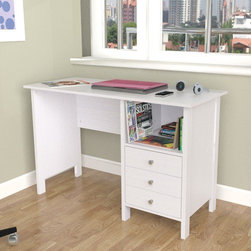 Inval - Laura Computer Desk with Shelf - Features: -Laura collection. -Finish: Laricina white. -P2 engineered wood board construction. -Modern design. -Open storage shelf. -Laminated modesty panel. -3 Accessory drawers with front chrome metal buttons handles and metal slides. -Laminated durable melamine provides stain, heat and scratch resistant with floor levelers. -Top with a 1.5 mm edge banding. -Use at home or office. -Manufacturer provides 5 year limited warranty.