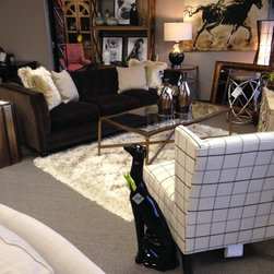 Showroom 2015 - Stevens Sofa from Robin Bruce, Caren Chair from Rowe, Coffee Table from Schnadig, Area Rug from Surya