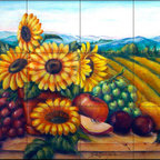The Tile Mural Store (USA) - Tile Mural - Sunflowers 1 - Kitchen Backsplash Ideas - This beautiful artwork by Rita Broughton has been digitally reproduced for tiles and depicts Sunflowers and fruits such as grapes, apples and plums.  This garden tile mural would be perfect as part of your kitchen backsplash tile project or your tub and shower surround bathroom tile project. Garden images on tiles add a unique element to your tiling project and are a great kitchen backsplash idea. Use a garden scene tile mural for a wall tile project in any room in your home where you want to add interesting wall tile.