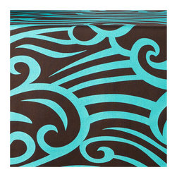 Wabisabi Green - Wave Eco Table Runner, Aqua/Chocolate - With its bold and beautiful curling wave pattern in trendy brown and aqua, this table runner is sure to make a splash in your dining room decor. The modern, nature-inspired design is a little Asian, a little beachy and a little abstract, giving you plenty of decorating options. For all that visual impact, the environmental impact is small: The runner is made from ecofriendly fabric and water-based ink.
