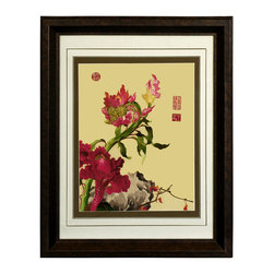 China Furniture and Arts - Chrysanthemum Silk Embroidery Frame - Silk embroidery is a Chinese art form with origins dating back millennia. With each piece containing thousands of tiny threads, a composition requires an extremely high level of skill to create. This particular embroidery features a lovely assortment of wild flowers. The reflective nature of the silk thread allows the lively colors of the petals and leaves to stand out beautifully in light. Museum quality  framing makes this piece ready to hang and make a statement on any wall it adorns.