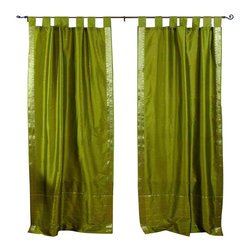 Indian Selections - Pair of Olive Green Tab Top Sheer Sari Cafe Curtains, 43 X 24 In. - Several sizes available