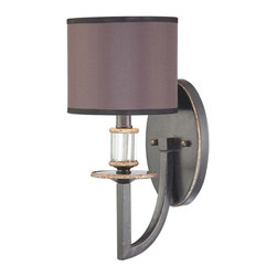 Savoy House - Savoy House Moderne Royal Wall Sconce in Distressed Bronze - Shown in picture: Designed by Raymond Waites; Smooth - polished charcoal shades with sepia tea-stained wash - elaborate crystal detailing - and clean straight lines finished in Distressed Bronze.