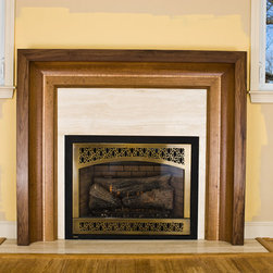 """Fireplace Mantels """"Raama"""" Design series - Fireplace mantel in Black Walnut and White Oak with Curly Maple accent. This mantel installed at clients house, windows are existing.Constantine Fedorets"""