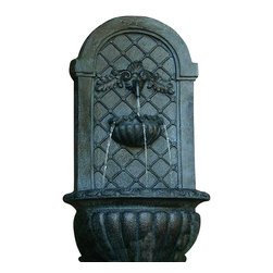 Serenity Health & Home Decor - Venetian Outdoor Wall Fountain, Lead - Dramatic in appearance, soothing in sound, this wall fountain makes the perfect addition to your favorite outdoor space. It's made of a high-tech resin that delivers incredible detail and durability to grace your garden with the look of metal and the feel of stone.