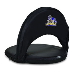 Picnic Time - James Madison University Oniva Seat Recreational Reclining Seat Black - When you need a recreational reclining seat that's lightweight and portable, the Oniva Seat is for you. It has an adjustable shoulder strap and six adjustable positions for reclining. The seat cover is made of polyester, the frame is steel, and the seat is cushioned with high-density PU foam, which provides hours of comfortable sitting. The bottom of the seat is black so as not to soil easily. The Oniva Seat is great for the beach, the park, gaming and boating.; College Name: James Madison University; Mascot: Dukes; Decoration: Digital Print