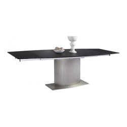 "White Line Imports - Unique Extendable Dining Table with Black Glass Top - Designed with an extendable top, this dining table will not only comfortable accomodate all your guests, but also save space in your dining room. The Unique dining table has brushed stainless steel base and 1/2"" tempered Black glass top."