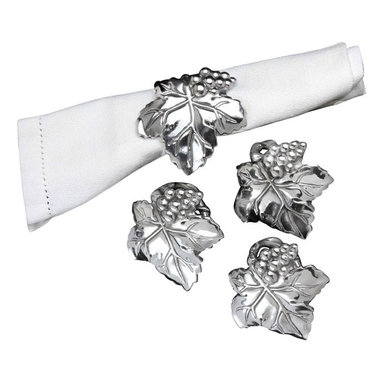Arthur Court - Grape Napkin Rings - Inspired by the rich bounty of California's wine country, this popular line of grape-themed formal dinnerware is all about celebrating the good life. Pour the wine, light the candles, and slip these silvery rings onto your napkins for a final, classy touch.