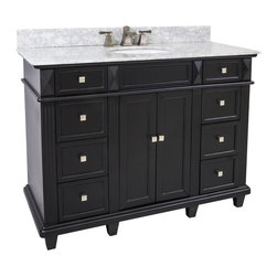 "Hardware Resources - Lyn Design VAN057-48-T-MW - This 48"" wide MDF vanity features a sleek black finish, clean lines and tapered feet to give a modern feel. A large cabinet with two banks of fully functional drawers provide ample storage. This vanity has a 2CM white marble top preassembled with an H8809WH (15"" x 12"") bowl, cut for 8"" faucet spread, and corresponding 2CM x 4"" tall backsplash."
