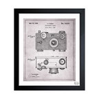 """The Oliver Gal Artist Co. - ''Fassin Camera 1938 Gray' 15""""x18"""" Framed Art - Exclusive blueprints inspired by real vintage patent drawings & illustrations. Handcrafted in the Oliver Gal Artist Co. Studios in Miami, Florida. Produced on matte proofing paper and hand framed by professional framers in a 1.2"""" premium black wood frame. Perfect for any interior design project, gifts, office décor, or to add special value to one of your favorite collections."""