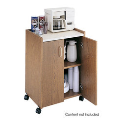 "Safco - Mobile Refreshment Center - Oak - Refresh your break! This compact refreshment center offers ample storage capability for your day-to-day break room supplies. Easily move the cabinet wherever it is needed in the office on four 2"" swivel casters (2 locking). Cabinet features wood laminate construction, double-door design with a fixed interior and storage shelf, and a large heat-resistant counter top with a 1-1/4"" raised lip to catch spills. Easy assembly with cam-lock fasteners.; Features: Material: 3/4"" furniture-grade wood; Color: Oak; Finished Product Weight: 76 lbs.; Assembly Required: Yes; Tools Required: Yes; Limited Lifetime Warranty; Dimensions: 23""W x 18""D x 31""H"