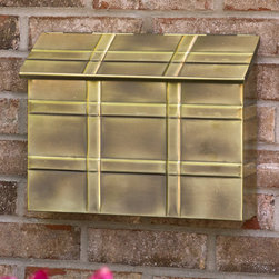 Grid Wall-Mount Brass Mailbox - Antique Brass - A functional and stylish piece, the Grid Wall-Mount Brass Mailbox features a deep container for everyday mail and raised bands for a decorative touch.