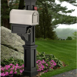 Mayne - Mayne Rockport Single Mail Post - 5809-B - Shop for Mailboxes and Accessories from Hayneedle.com! Accept your letters in style with the Mayne Rockport Single Mail Post mounted out front. This classic sidemount-style plastic mail post cover goes over any standard 4- x 4-inch post to create a complete mail solution. It's built from molded heavy-duty polyethylene with UV inhibitors to protect your choice of color and includes a large decorative post side mailbox support and built-in paper holder. A medium mailbox is recommended at least 6.5 inches wide and weighing less than 8 lbs. Use a 4- x 4-inch post at least 84 inches high.About MayneMayne products Outdoor Products of Distinction a distinction they back up by delivering consistently attractive and functional accents for both front and back yards. Heavy-duty molded poly construction gives their products the durability they need to make it outdoors and UV-treated coloring processes provide a wealth of neutral options that fit your style. They take design cues from classic East Coast style so your outdoor Mayne products will never be out.