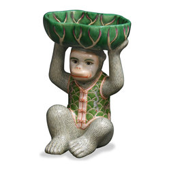 China Furniture and Arts - Hand Painted Porcelain Monkey W/Lotus Dish, Multicolor - A ceramic monkey proffers soaps, potpourri, even paperclips from a classic lotus motif dish. A unique decorative object with a practical use.