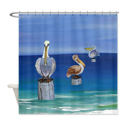 usa - Pelican Beach Shower Curtain - Beautiful shower curtains created from my original art work. Each curtain is made of a thick water resistant polyester fabric. The permanently applied art work appears on the front side with the inside being white. 12 button holes for easy hanging, machine washable and most importantly made in the USA. Shower rod and rings not included. Size is a standard 70''x70''